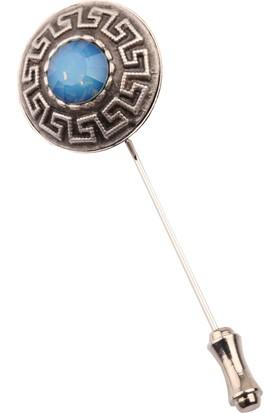 La Pescara Gümüş Eskitme Mavi Taşlı Yaka İğnesi Yı173