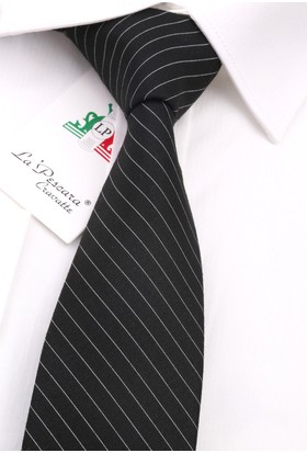 La Pescara Siyah - Beyaz Yün Slim Kravat 6181