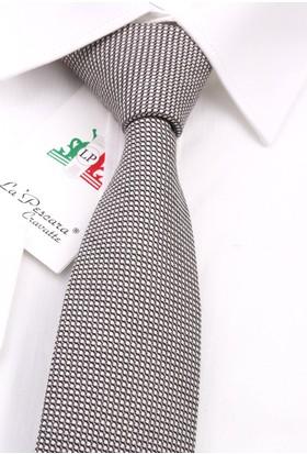 La Pescara Siyah - Beyaz Yün Slim Kravat 6234