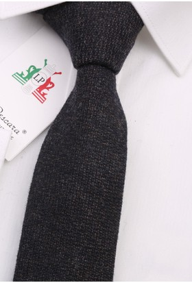 La Pescara Siyah - Kahve Yün Slim Kravat 6301