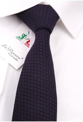 La Pescara Siyah - Mor Yün Slim Kravat 6224