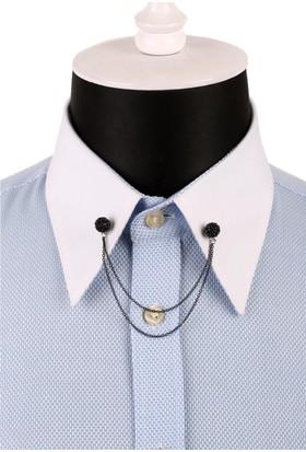La Pescara Siyah Taşlı Zincirli Gömlek Yaka İğnesi Gı087