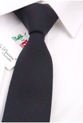 La Pescara Yeşil - Bordo Yün Slim Kravat 6239