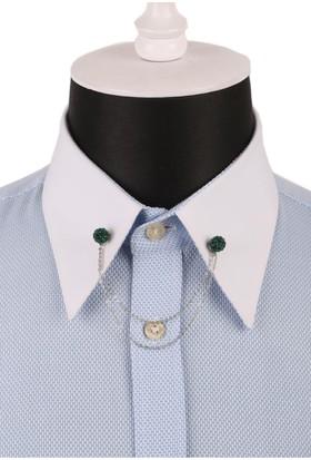 La Pescara Zümrüt Yeşili Kristal Taşlı Zincirli Gömlek Yaka İğnesi Gı078