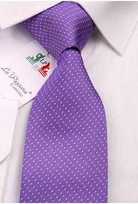 La Pescara Lila Nokta Desen İpek Kravat İk298