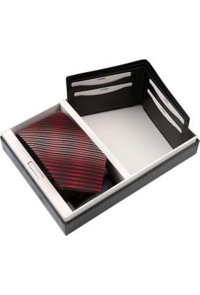 La Pescara Kırmızı Kravat Mendil Cüzdan Erkek Hediye Seti Kmc47