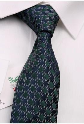 La Pescara Yeşil Ekose Desen Slim Kravat 6492