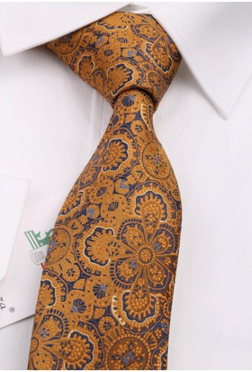 La Pescara Sarı Motif Desen Slim Kravat 6499