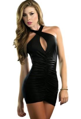 Mite Love Seksi Mini Elbise Sırtı Dekolte Siyah