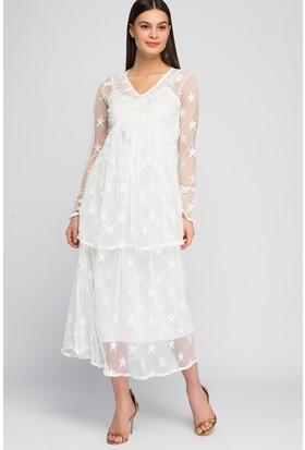 Modashop Yıldız Detay Dantel Elbise