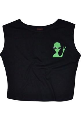 Stoned Alien Baskılı Siyah Kadın Göbek Üstü Crop Top Yarım Tişört