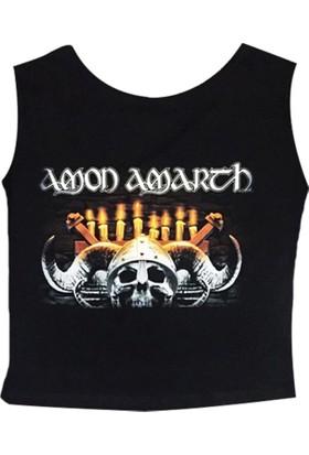 Stoned Amon Amarth Baskılı Siyah Kadın Göbek Üstü Crop Top Yarım Tişört