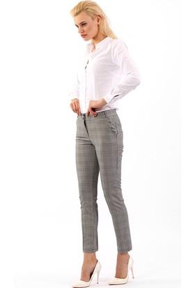 ZDN Jeans Kadın Düşük Bel Ekoseli Pantolon G007