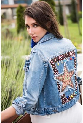 ZDN Jeans Kadın Denim Etnik Baskılı Ceket M11