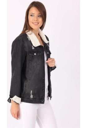 ZDN Jeans Kadın Kürklü Siyah Denim Ceket M11