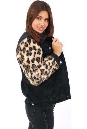 ZDN Jeans Kadın Kolu Leopar Kürklü Siyah Denim Ceket M11