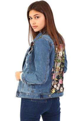 ZDN Jeans Kadın Çiçek Tüllü Mavi Denim Ceket M11