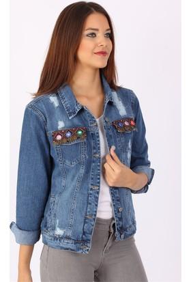 ZDN Jeans Kadın Etnik Desen Metal Pullu Mavi Denim Ceket M11