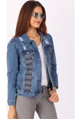ZDN Jeans Kadın Kumaş Desen Denim Ceket M11