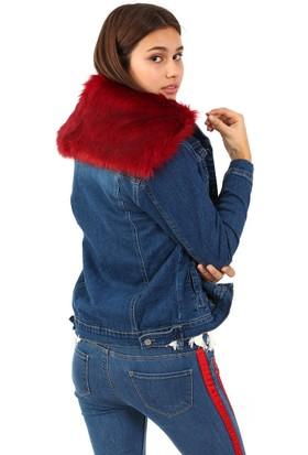ZDN Jeans Kadın Kırmızı Kürk Yakalı Mavi Denim Ceket M11