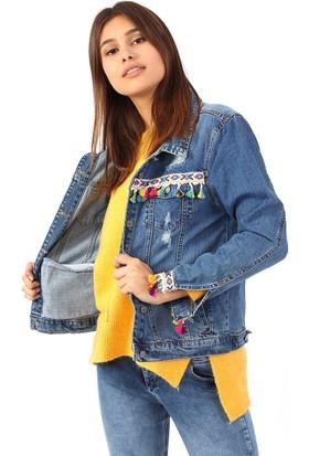 ZDN Jeans Kadın Sırtı Baykuş Desenli Mavi Denim Ceket M11