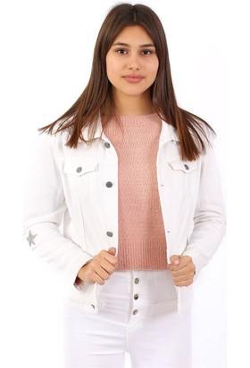 ZDN Jeans Kadın Beyaz Yıldızlı Denim Ceket M11