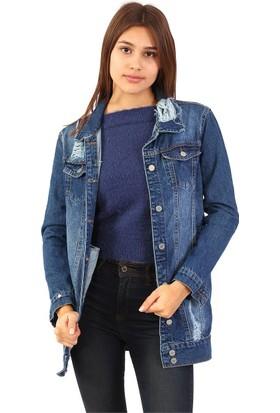 ZDN Jeans Kadın Mavi Uzun Denim Ceket M18