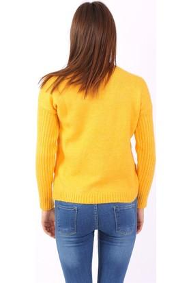 ZDN Jeans Kadın Sarı Triko Kazak T3801