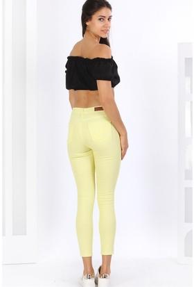 ZDN Jeans Kadın Yüksek Bel Limon Sarı Pantolon - W507