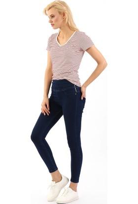 ZDN Jeans Kadın Yüksek Bel Koyu Mavi Skinny Jean W559