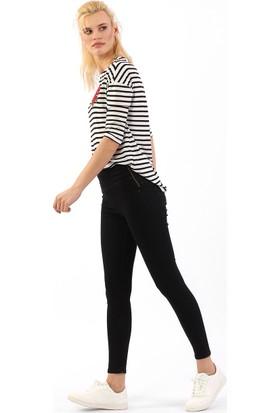 ZDN Jeans Kadın Yüksek Bel Siyah Skinny Jean W559
