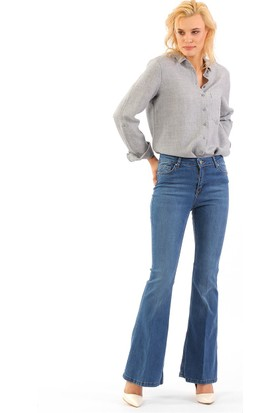 ZDN Jeans Yüksek Bel İspanyol Paça Jean W737