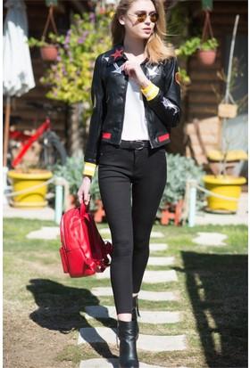 ZDN Jeans Kadın Yüksek Bel Gabardin Siyah Pantolon W859