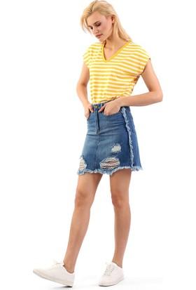 ZDN Jeans Kadın Orta Mavi Denim Etek WE1046
