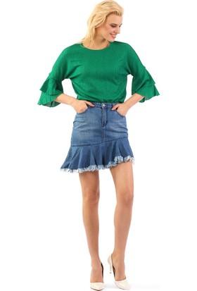 ZDN Jeans Kadın Orta Mavi Denim Etek WE1047