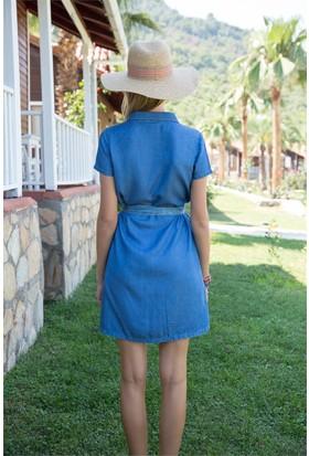 ZDN Jeans Kadın Denim Kısa Kol Elbise WE1051