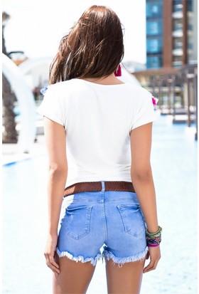 ZDN Jeans Kadın Düşük Bel Denim Mavi Şort W-S-027