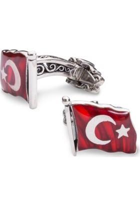 Anı Yüzük Türk Bayrağı Motifli Gümüş Kol Düğmesi