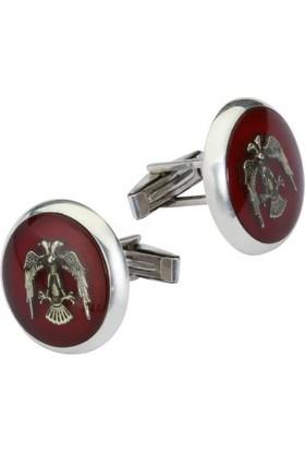 Anı Yüzük Selçuklu Kartalı Motifli Gümüş Kol Düğmesi