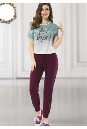 Poleren 5627 Kadın Kısa Kol Uzun Alt Pijama Takım