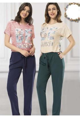 Poleren 5634 Kadın Kısa Kol Uzun Alt Pijama Takım