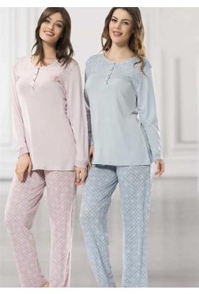 Poleren 5698 Kadın Büyük Beden Uzunkol Pijama Takım