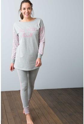 U.S. Polo Assn. Kadın 15948P Pijama Gri Melanj