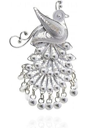 Misiny Tavuskuşu Gümüş Telkari Broş