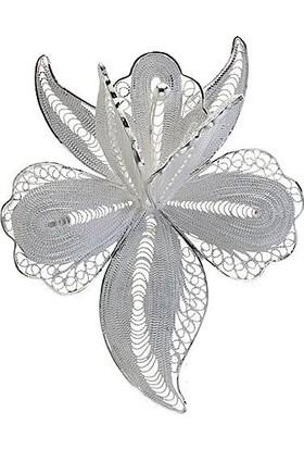 Misiny Zambak Gümüş Telkari Broş