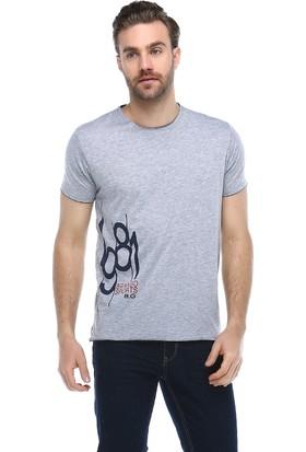 Brango 40145-5 Bisiklet Yaka Fahroni Baskılı Gri T-Shirt