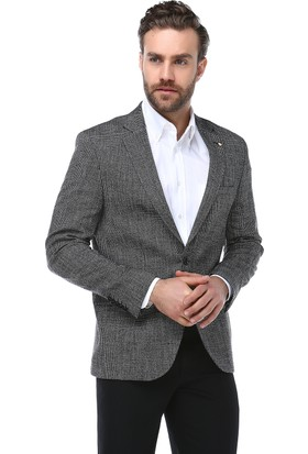 Brango 30086-4 Kendinden Desenli Siyah Ceket