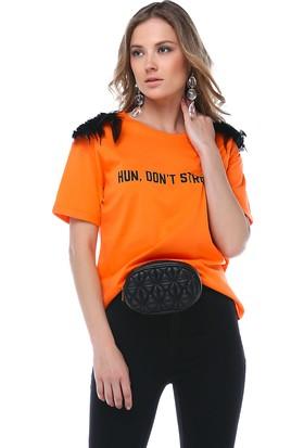 Denimakinası Kadın Turuncu Bisiklet Yaka Tshirt