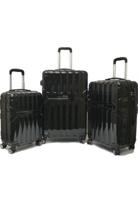 Mçs Pc Kırılmaz Valiz Siyah Üçlü Set (Kabin Orta Büyük)