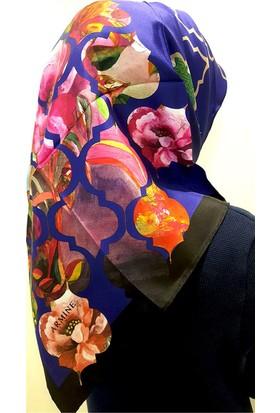 Armine Geometrik Çiçek Desenli Lacivert Tivil İpel Eşarp Başörtüsü